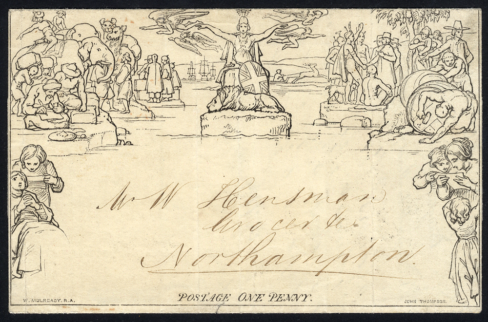 1844 Jan 25th Penny Mulready Letter Sheet Stereo A220 to Northampton un-cancelled contrary to regulations. Scarce.