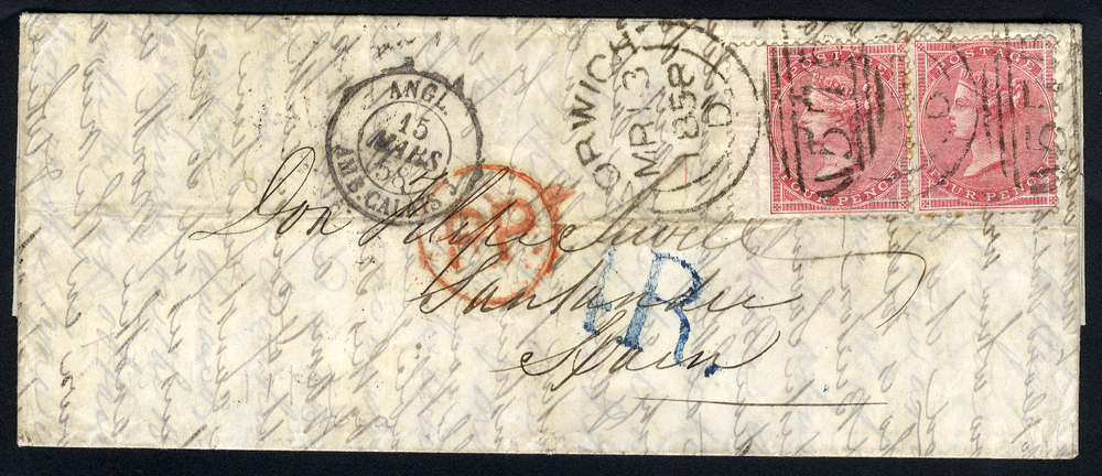 1858 folded letter Norwich to Santander, Spain, 4d rose carmine Wmk Large Garter pair (SG.66), sideways duplex Code D