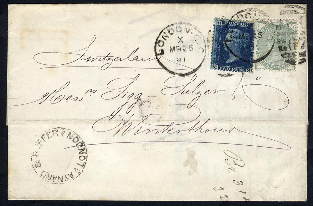 1881 cover London to Winterthur, Switzerland, 2d blue Pl.5 & ½d pale green (SG.47 & 165), London duplexes