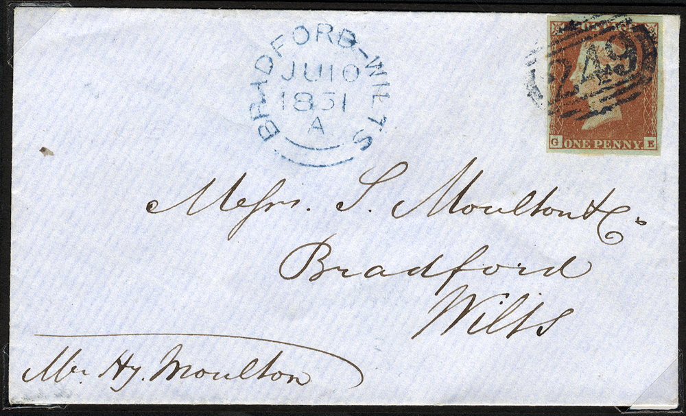 1841 1d red Archer Plate 96 GE tied to cover by a '249' numeral of DEVIZES in BLUE, addressed to Bradford