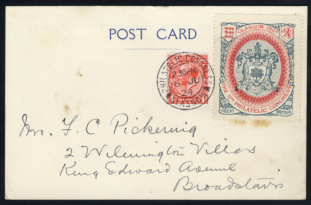 1924 Philatelic Congress Glasgow - postcard from exhibition to Broadstairs, KGV 1d + exhibition label, Congress double ring c.d.s.