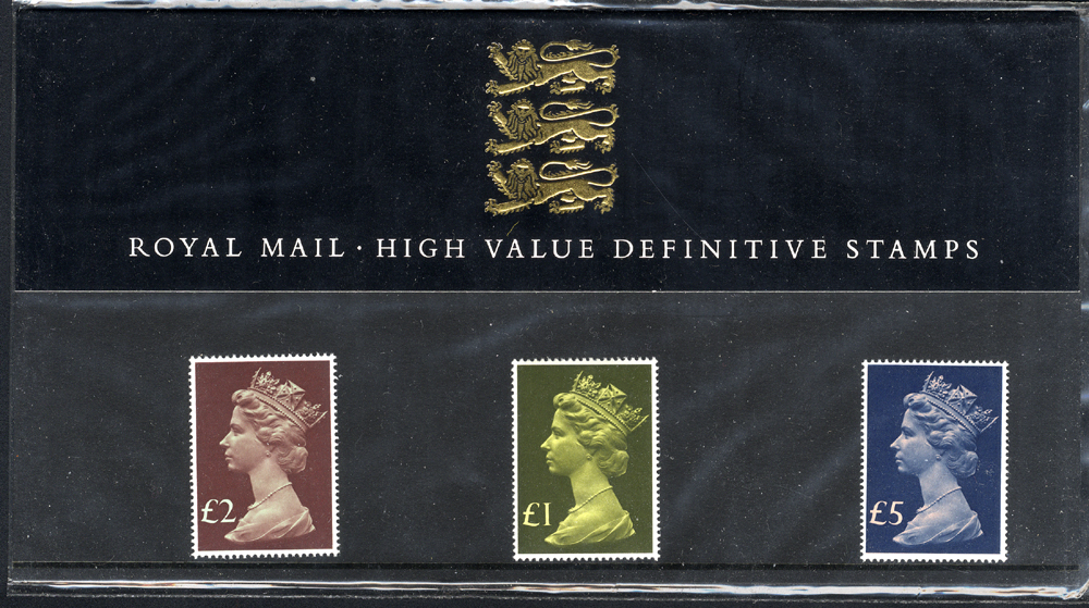 1987 Machin High Value (£1 to £5) Definitive Presentation Pack No. 13.
