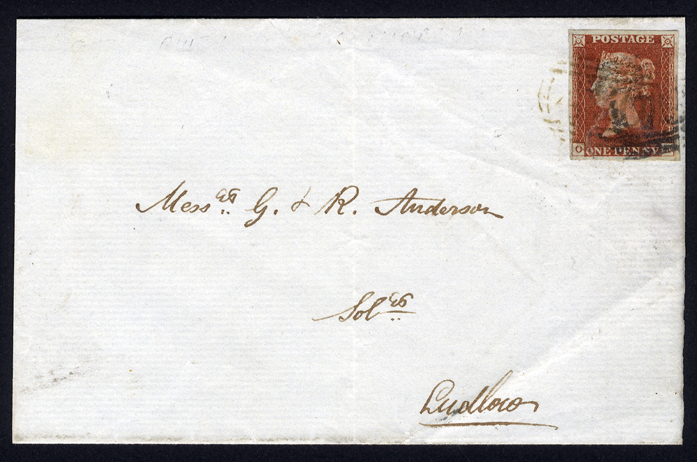 1845 cover to Ludlow, 1841 1d red brown Pl.57 OE, boxed oval numeral 'A86' of Knighton & '708' of Shrewsbury. BPA Cert.