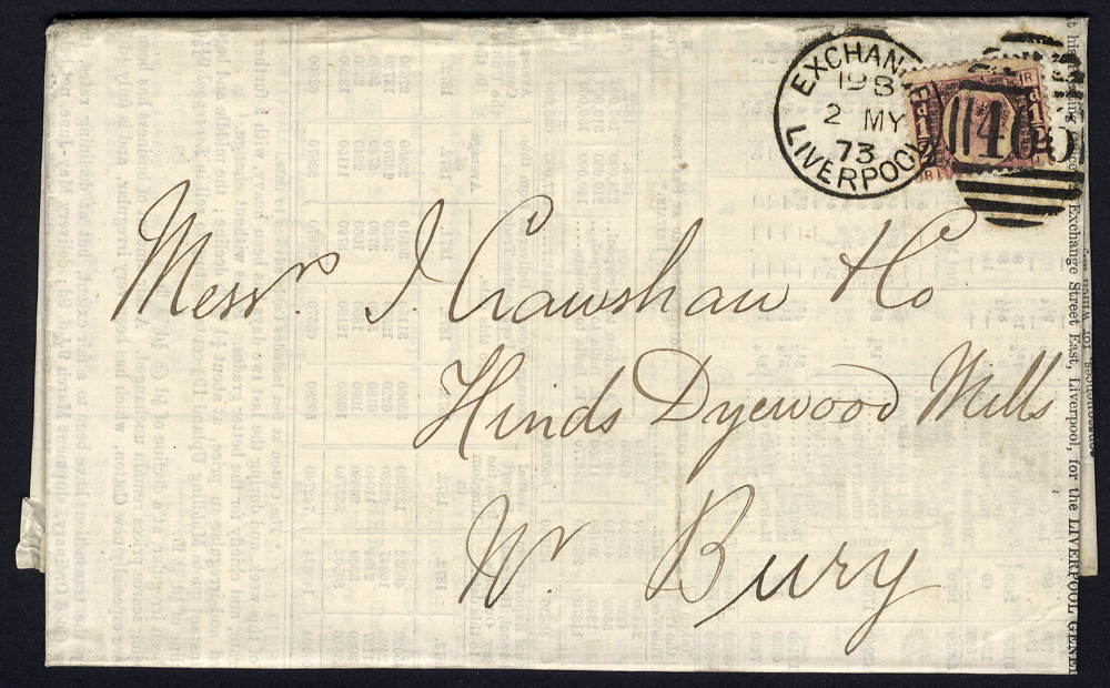 1872 Liverpool General Brokers Association Prices Current printed & folded to Bury, ½d Bantam Pl.3 (SG.48), Liverpool duplex.