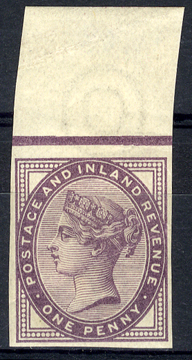 1881 1d lilac Die II (SG.172) Plate 68 Imprimatur top marginal example with crease.