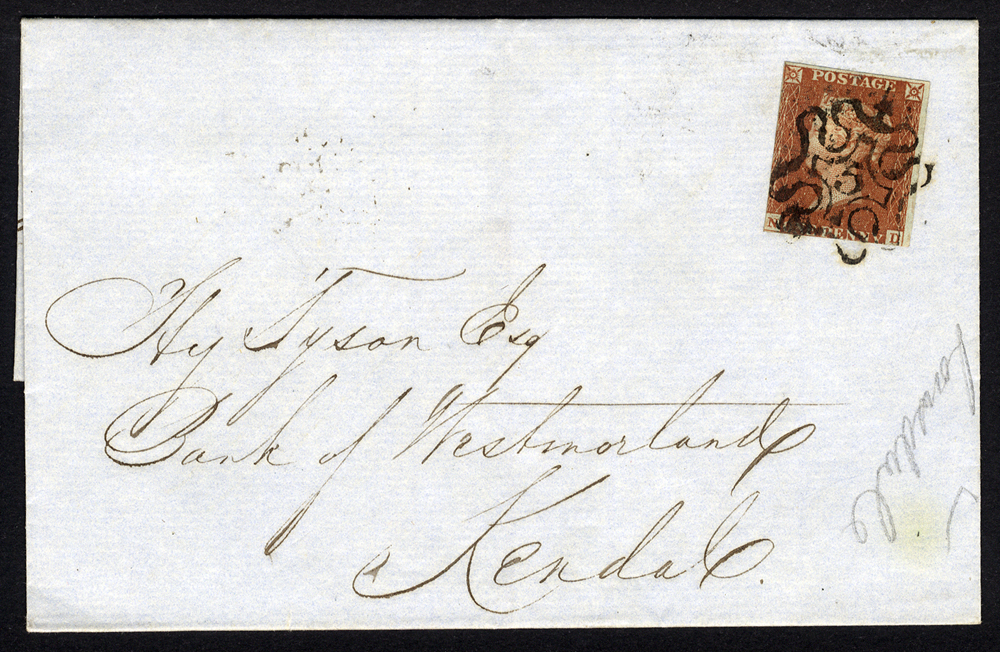 1843 cover London to Kendal, 1d red brown ND, tied by No.5 in Maltese Cross.