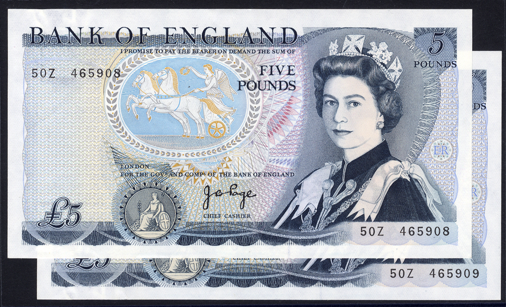 1973-80 Page £5 blue, 'L' Wellington reverse, two consecutive numbers, Prefix 50Z (465908/9) UNC