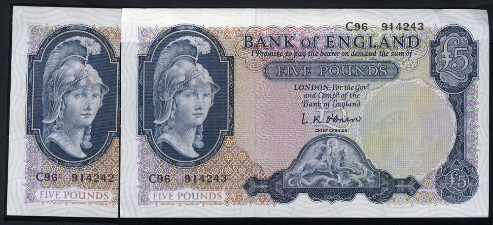 1957 O'Brien £5 Helmeted Britannia, reverse - Lion holding  key & chain, two consecutive notes, Prefix C96 (914242/3) aUNC