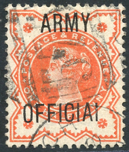 ARMY OFFICIAL 1887 ½d vermilion 'OFFICIAI' variety, FU, SG.O41