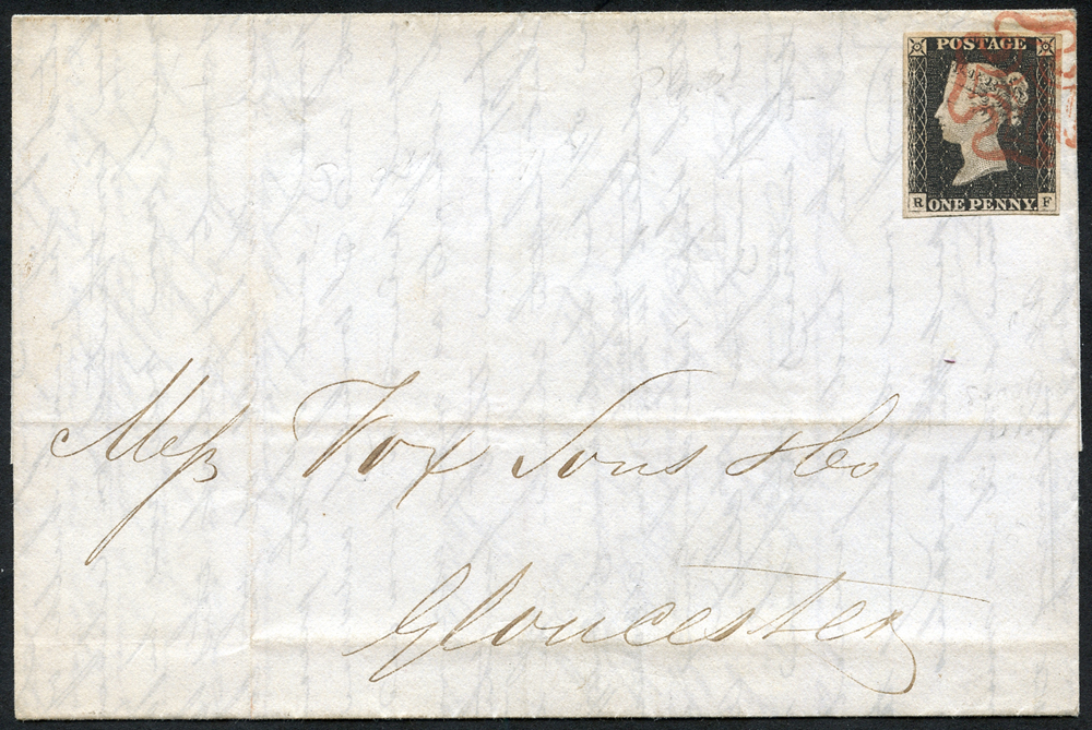 1840 cover to Gloucester, Plate 2 RF, red Maltese Cross