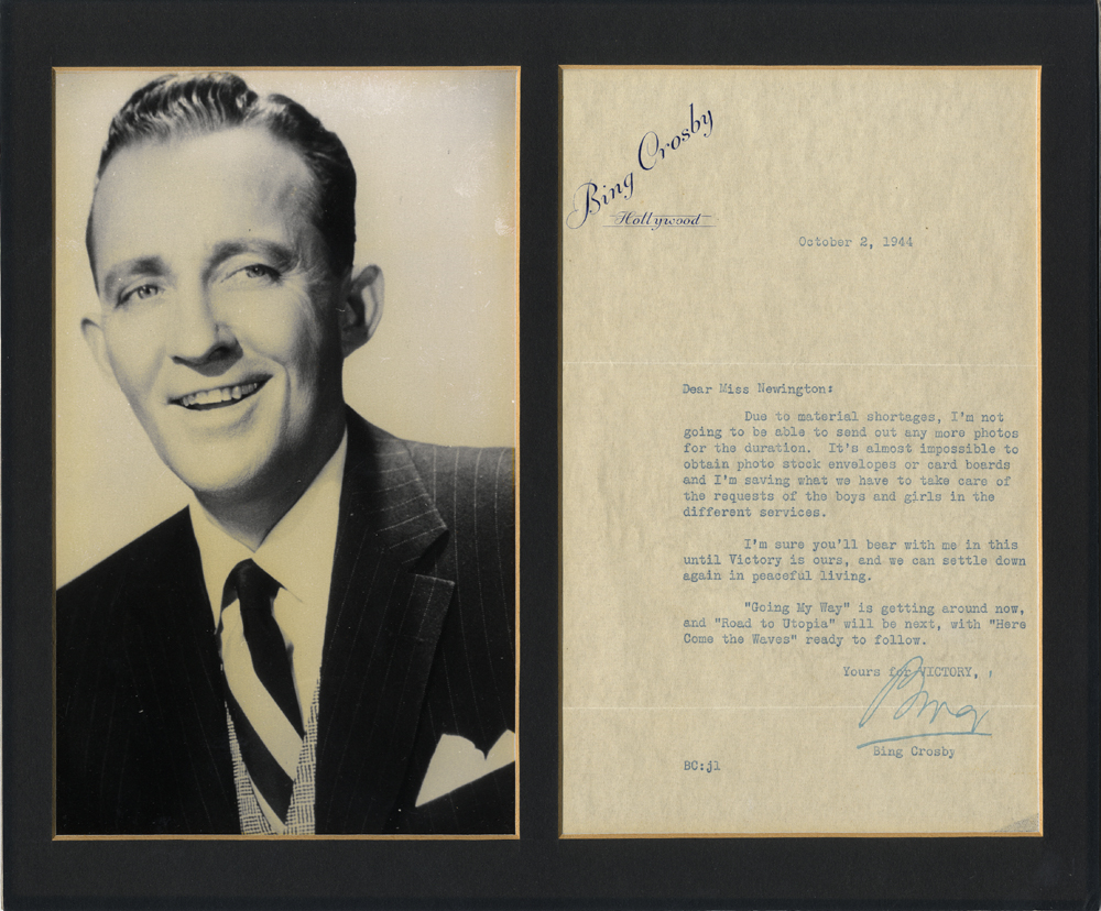 CROSBY, BING 1903-1977 (American Singer & Actor) signed typed letter on Bing Crosby/Hollywood notepaper with a photograph.