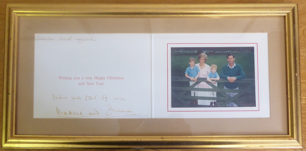 CHARLES & DIANA - Christmas card with photograph of Princess Diana, Prince Charles, Prince William & Prince Harry - signed 'Charles & Diana' (framed)