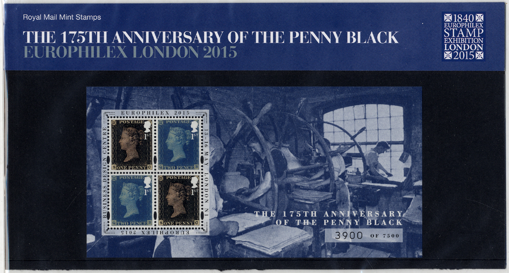 175th Anniversary of the Penny Black presentation pack with 'EUROPHILEX LONDON 2015' overprint
