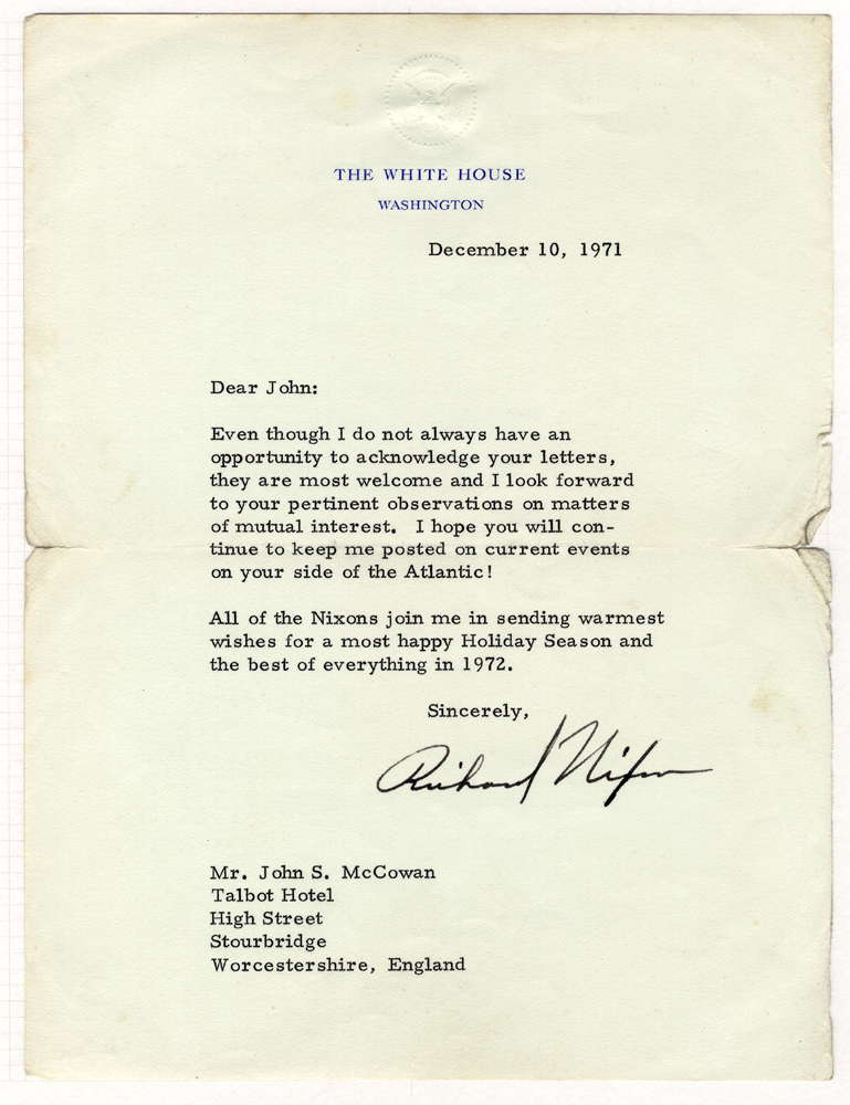 NIXON, RICHARD American President 1969-74 typed letter signed 'Richard Nixon' from The White House, Washington (10th Dec 1971)