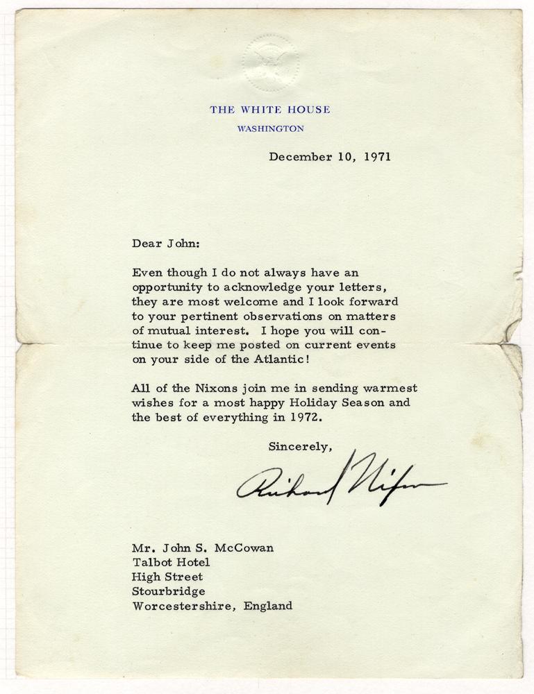 NIXON, RICHARD American President 1969-74 typed letter signed 'Richard Nixon' from The White House, Washington (10th Dec 1971)
