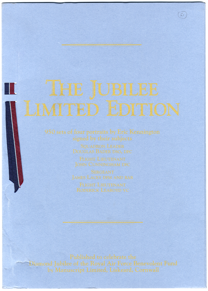 WWII - The Jubilee Limited Edition portraits (signed) Douglas Bader, James Lacey, John Cunningham & Roderick Learoyd with Certificate