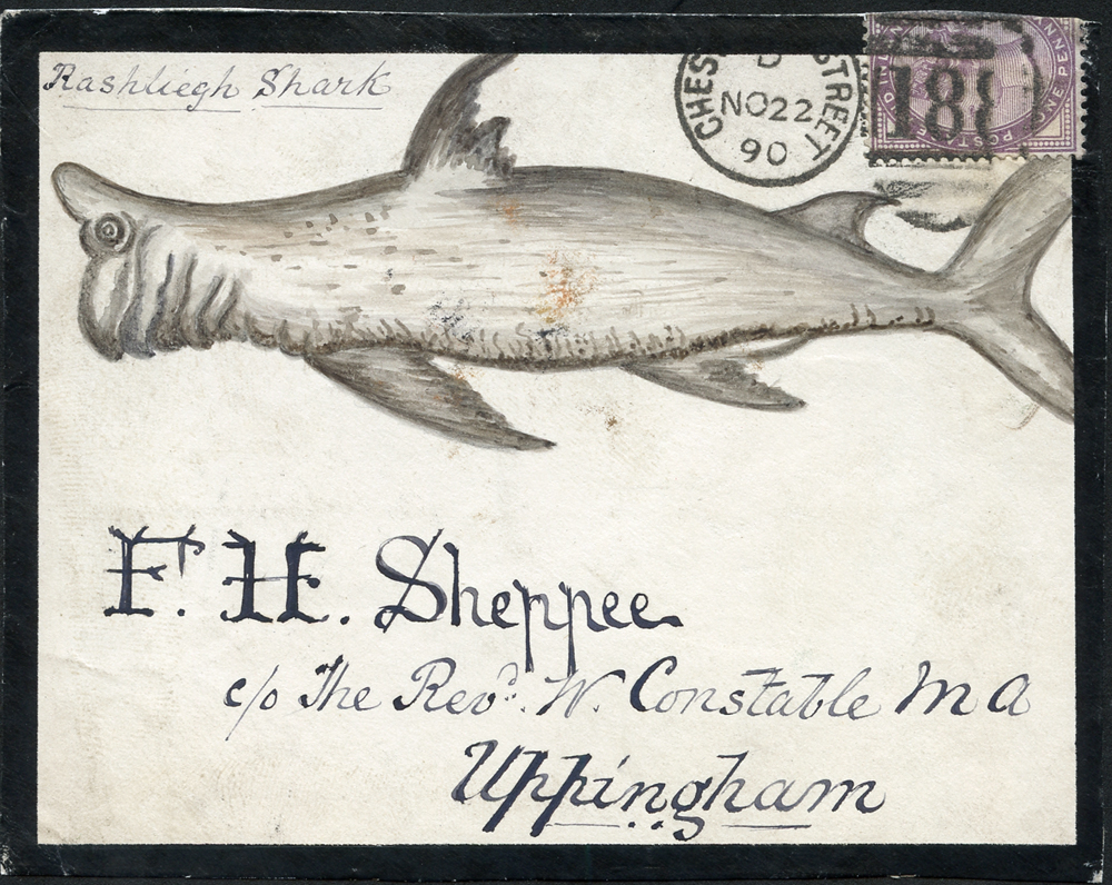 1890 hand painted water colour (Rashliegh Shark) cover front, 1d lilac, Chester Le Street duplex to Uppingham