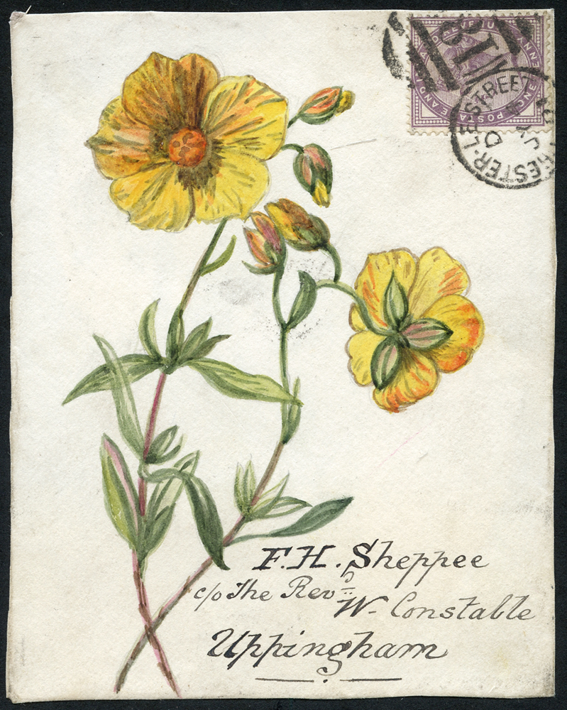 1891 hand painted water colour (flower) cover front, 1d lilac, Chester Le Street duplex to Uppingham