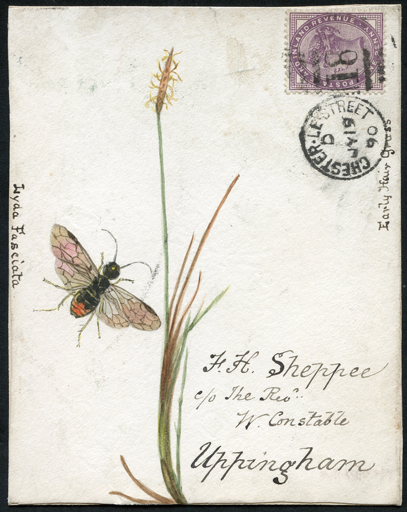 1890 hand painted water colour (plant & insect) cover front, 1d lilac, Chester Le Street duplex to Uppingham