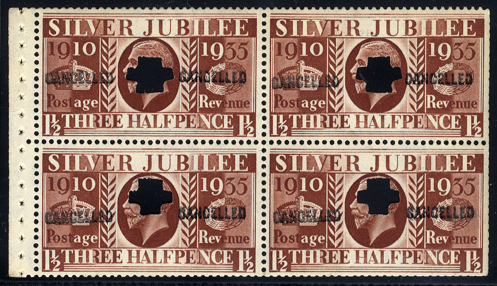 1935 Silver Jubilee 1½d Type III booklet, cancelled Type 33P, Spec.NComB7s