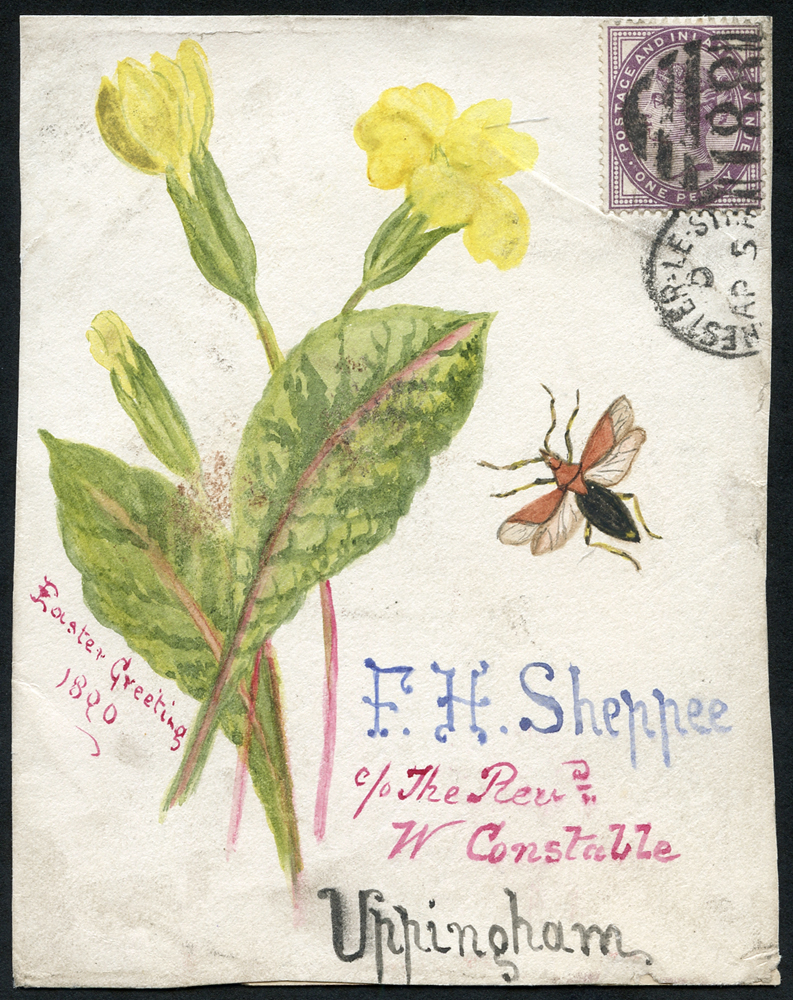 1890 hand painted watercolour (Easter Greetings/insect & primrose) cover front, 1d lilac, Chester Le Street duplex to Uppingham