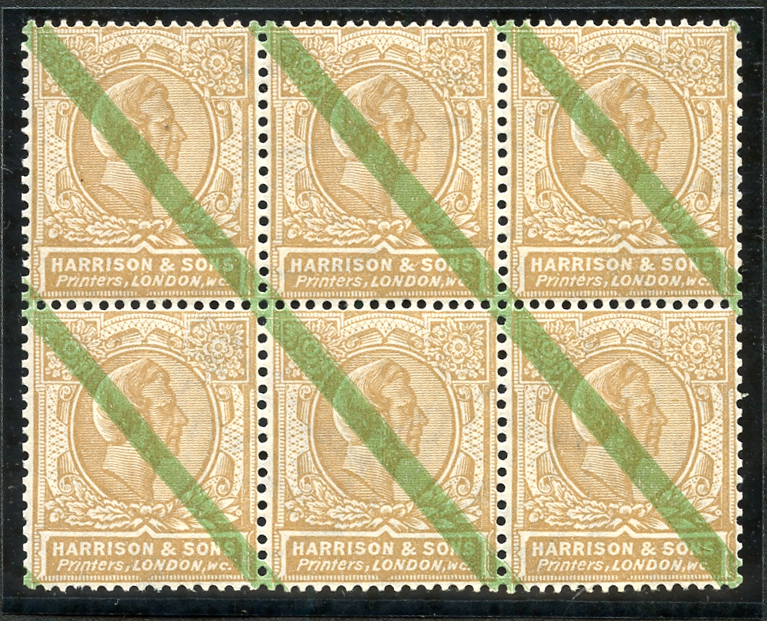 1913 BOOKLET ESSAY pane of six 'Harrison Head' labels - scarce