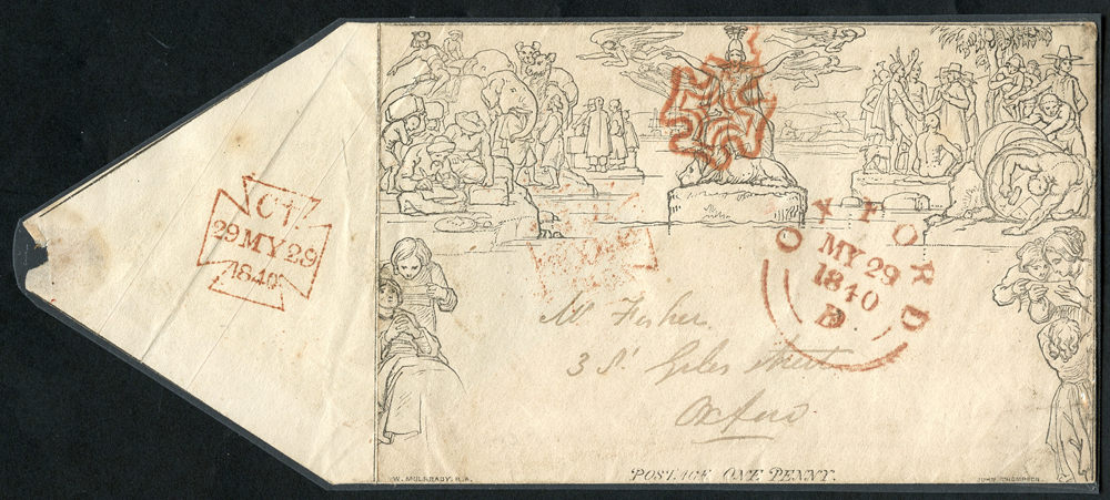 1840 1d Mulready envelope, Stereo A146 Forme 2 (May 29th) London to Oxford, red Maltese Cross, Charing Cross despatch