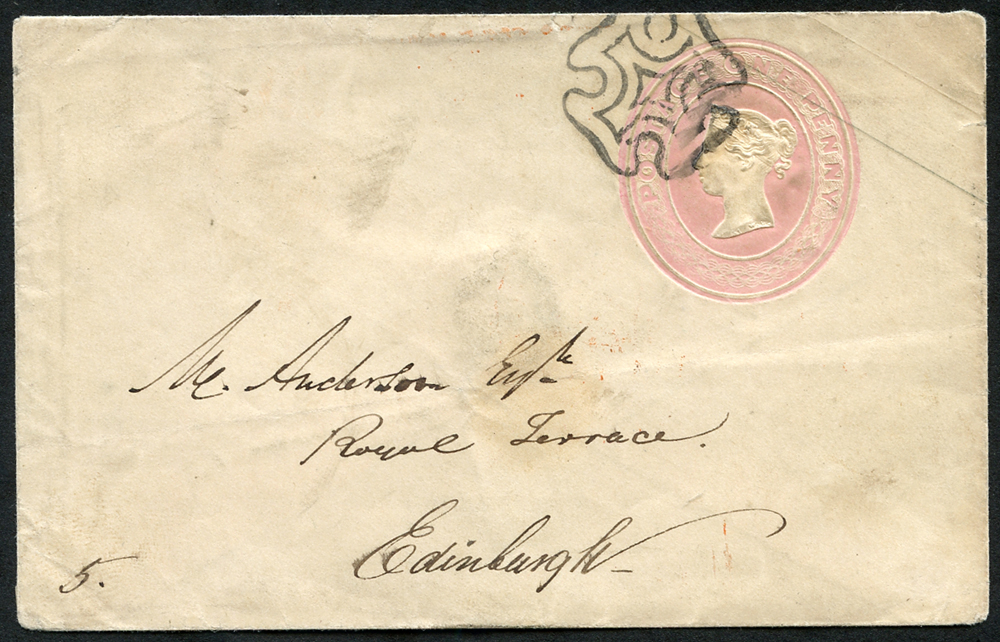 1845 1d pink envelope sent locally in Edinburgh, cancelled by Maltese Cross