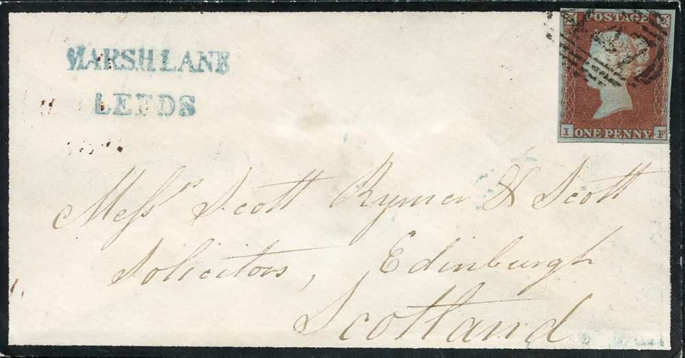 1851 mourning envelope from Leeds to Edinburgh, franked 1841 1d red