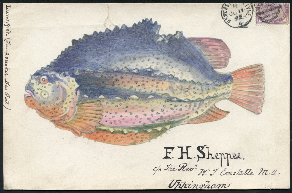 1891 hand painted water colour (Lumpfish) cover front, 1d lilac (trimmed), Newcastle on Tyne duplex to Uppingham