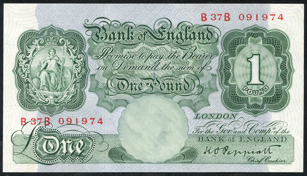 1948 Peppiatt £1 green (threaded), Prefix B37B (091974), aUNC, Dugg B260.