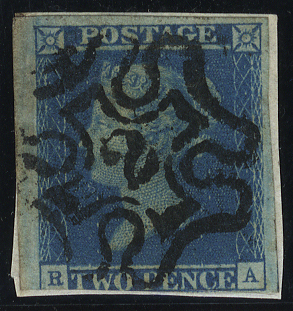 1841 2d blue Plate 3 RA on piece, bold strike of the No. 2 in Maltese Cross, huge margins - just cut into at base