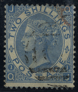 1867 2s pale blue Plate 1, VFU, SG.120, Cat. £275