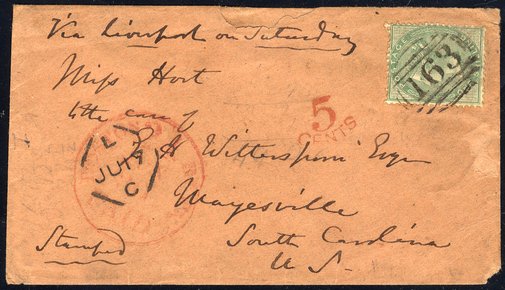 USA 1859 envelope (damaged corner) to South Carolina, 1s green (SG.72), tied '163' obliterator with undated 'Dinas' circular on reverse