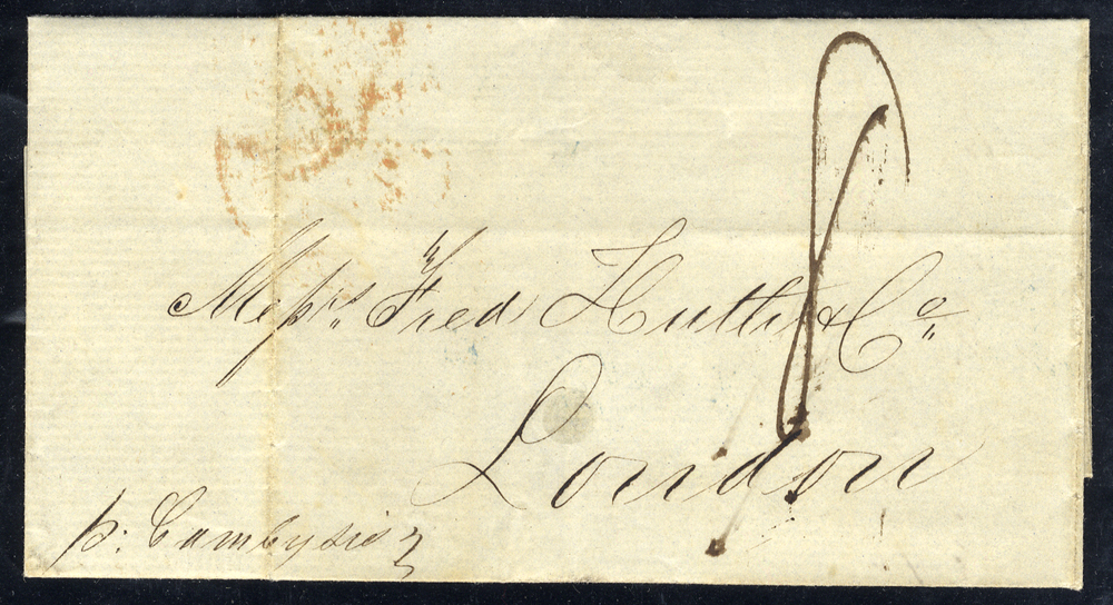 ISLE OF WIGHT 1849 cover from Bahia, Brazil to London, endorsed '8 Cambysio,' reverse 'COWES/SHIP LETTER' in blue