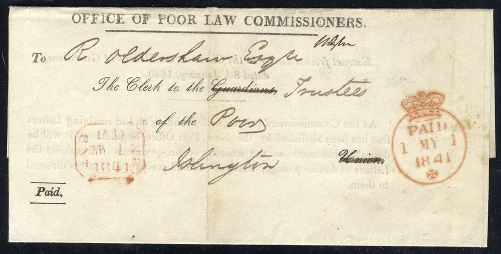 1841 May 1st OFFICE OF POOR LAW - entire to Islington with 'Crown/Paid' d/stamp