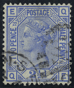 1881 2½d blue, Plate 22 QE, fine used, SG.157, Cat. £45