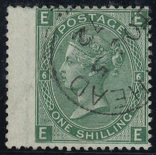 1871 1s green, Plate 6 EE, very fine used c.d.s, SG.117, Cat. £45++