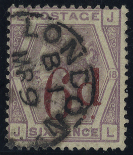 1883 6d on 6d lilac JL, very fine used, SG.162, Cat. £150