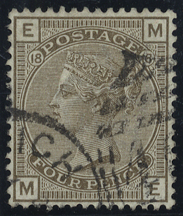 1882 4d grey brown, Plate 18, very fine used, SG.160, Cat. £75