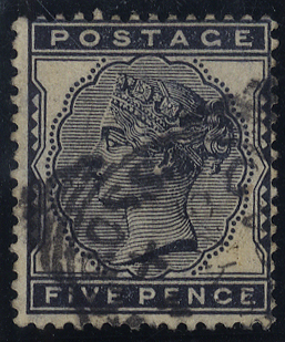 1881 5d indigo, VFU with squared circle cancel, SG.169, Cat. £175