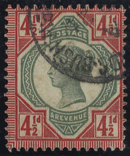 1892 4½d green & carmine, very fine used, SG.206, Cat. £45