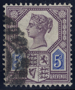 1887 5d dull purple & blue, Die I, used, SG.207, Cat. £120