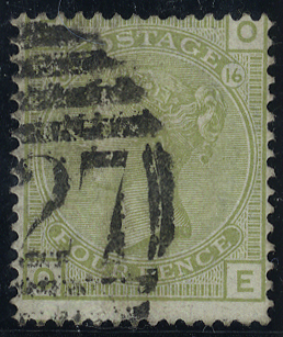 1877 4d sage green, Plate 16, fine used - good colour, SG.153.