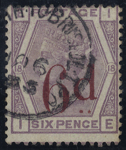 1883 6d on 6d lilac, very fine used, SG.162, Cat. £150