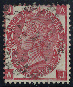 1868 3d rose, Plate 5 AJ, fine used, SG.103, Cat. £70