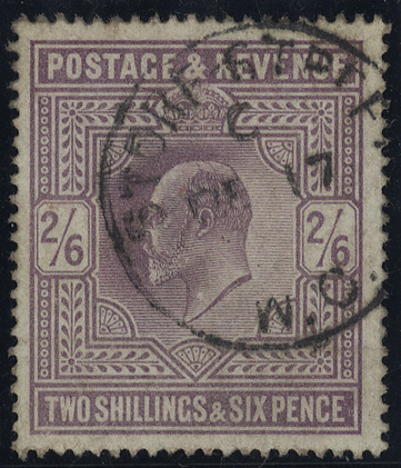 1902 2/6d lilac, very fine used c.d.s. example, SG.260, Cat. £150