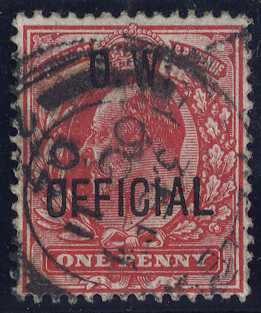 1905 O.W Official 1d scarlet, SG.O37, Cat. £180