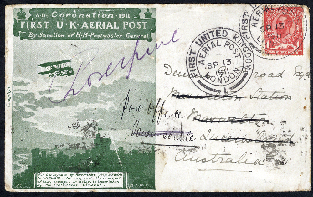 1911 Sep 13th Coronation first UK Aerial Post flown envelope in green with enclosure, Proserpine, Queensland receiver c.d.s.