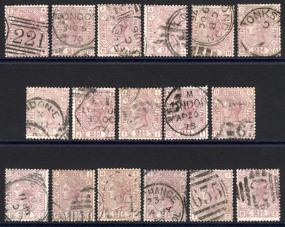 1875 2½d rosy mauve Wmk Anchor Plate 1 & 2 (SG.139), Wmk Orb set of Plates 3-17 (SG.141)